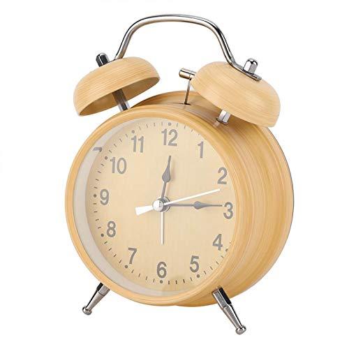 Reloj Despertador, Reloj Despertador silencioso de Campana Doble, Cuerda de Ahorro de energía con luz Nocturna Retro para Despertar en casa