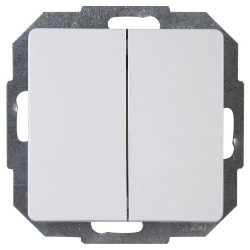 Kopp Paris Serien-Schalter für den Haushalt, 250V (10A), IP20, Unterputz, Lichtschalter für 2 Leuchtmittel, einfache Wandmontage, arktis-weiß, 650502062