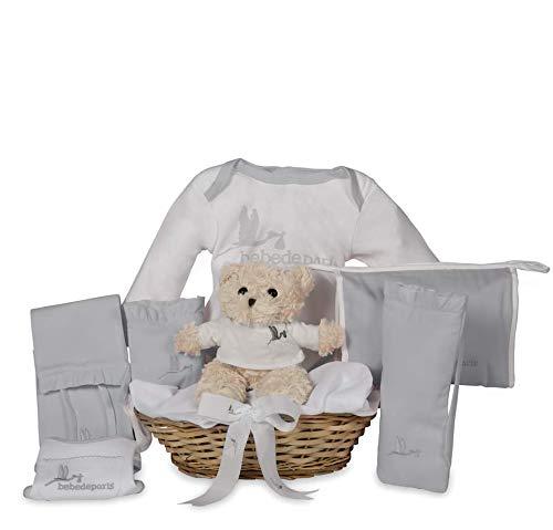 BebeDeParis   Regalos Originales para Bebés Recién Nacidos   Canastilla Bebé Lovely   Ideal Regalo Babyshower   3-6 Meses (Gris)