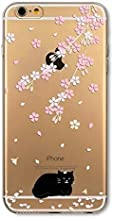 DECO FAIRY Compatible with iPhone 6 / 6s, Cartoon Anime Animated Cherry Blossom Black Cat Meow Kitty Series Transparent Translucent Flexible Silicone Cover Case