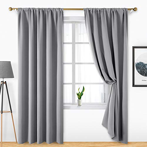 HOMEIDEAS 2 Panels Light Grey Blackout Curtains Light Gray Pocket Curtains for Bedroom, 52 X 96 Inch Room Darkening Curtains, Thermal Insulated Window Treatment Curtains/Drapes for Living Room