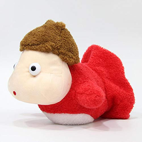 Juguete de Peluche Muñeca de Dibujos Animados Little Fish Girl on The Cliff Muñeca de Peluche Suave Linda 20cm Rojo
