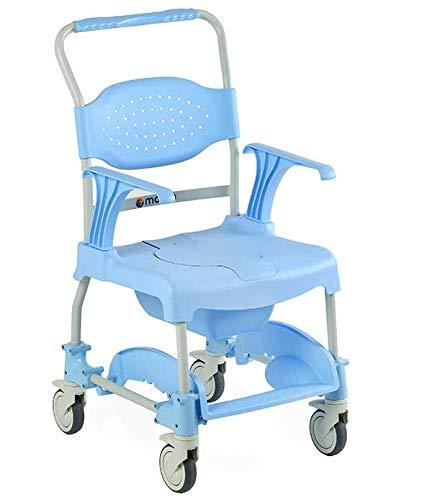 SILLA DE DUCHA MOEM, se puede acoplar directamente al inodoro, de serie viene con cubeta y tapa de asiento, reposabrazos y reposapié abatible ✅