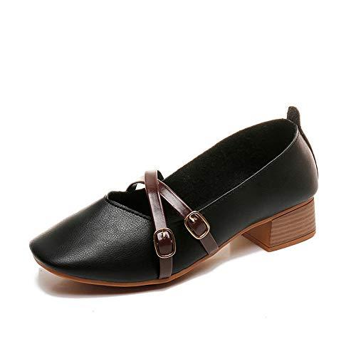 MRULIC Damen Mode Eckige Spitze Quadratische Ferse Freizeitschuhe Einzelne Schuhe Weiche Lederstiefel(Schwarz,EU-37/CN-38)