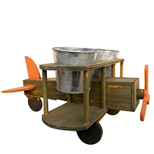 Jren-zk Stand De Fleur d'avion Créatif, Pot De Fleur De Fer en Bois * 2 Style Rétro Bureau Placement Salon/Chambre/Bureau/Bureau 20 * 30 * 40 CM (Size : 20 * 30 * 40CM)