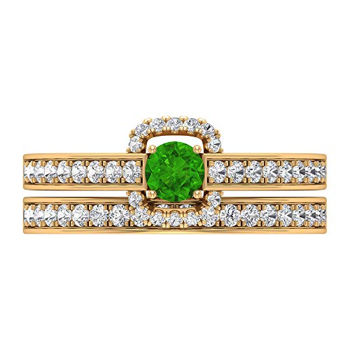 Rosec Jewels 14 quilates oro amarillo redonda round-brilliant-shape H-I Green Diamond Creado en laboratorio de tsavorita