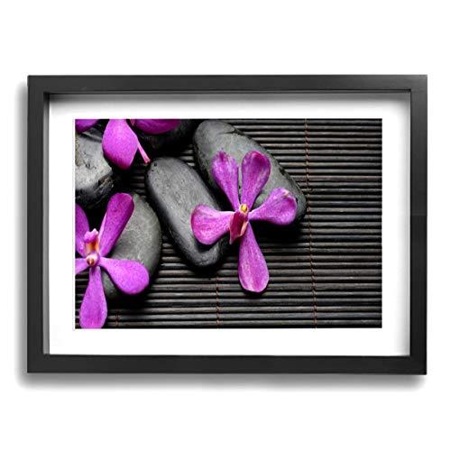Olverz Orquídea Bambú con piedras enmarcadas de 30,5 x 40,6 cm, impresiones artísticas clásicas y modernas, marco de fotos para la sala de estar, la oficina, el hogar