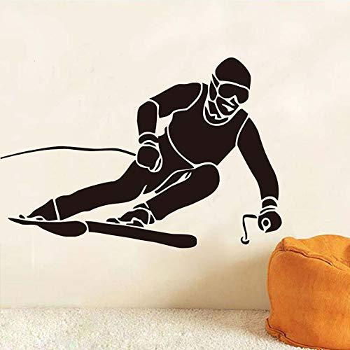 Tianpengyuanshuai Ski silhouet muur sticker ijs sport decoratie vinyl lijm verwijderbare muur decal jongen kamer