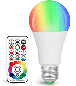 LED Light Bulb, Dimmable E26 LED Light Bulb, 10W RGBW Color Changing Light Bulb with Remote Control, Decorative Lights, Mood Light Bulb, Great for Home Decor, Stage, Party and More