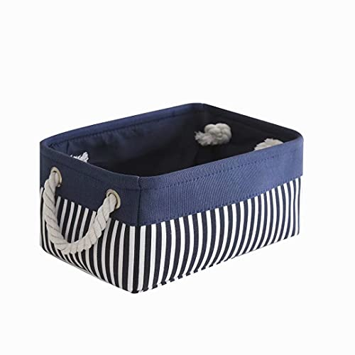 TcaFmac Small Fabric Nautical Storage Basket, Collapsible Canvas Toy Storage Organizing Basket with Strong Cotton Rope Handles for Shelves,Empty Gifts,Baby Blue Basket 12(L)x 8(W)x 5(H)inches