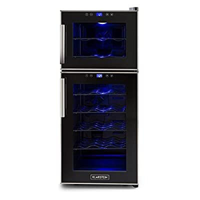 Klarstein Reserva 21 Wine Refrigerator 2 Zones (56 L, 21 Bottles, Class D, 2 Programmable Cooling Zones, Touch Operation with LCD Display) Black by Klarstein