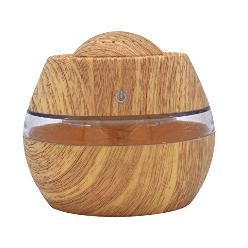 ASHOP Aroma Diffuser 300ml Luftbefeuchter Öl Ultraschall Düfte Humidifier Holzmaserung LED mit 7 Farben für frische Luft, Heim Dekoration, beste Geschenke für trockene Haut, Insomnie (Gelb)