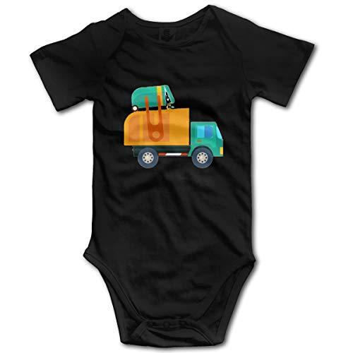 U are Friends Enfants bébé Barboteuse de Dessin animé Garbage Truck Newborn Girls Boy Toddler à Manches Courtes pour Tout-Petit(2T,Noir)