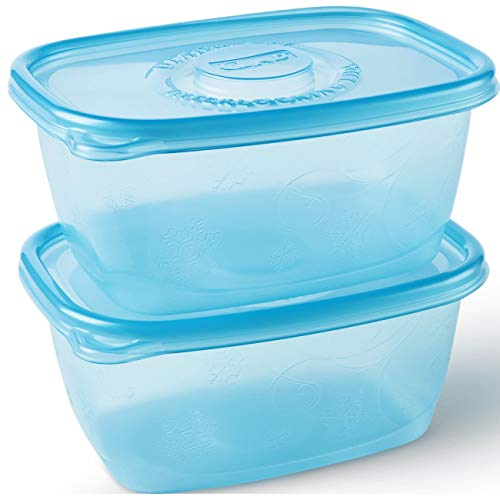 Glad Food Storage Containers, FreezeWare, Large, 64 Ounce, 2 Count