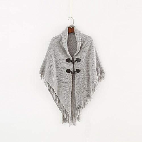 WNFDH sjaal weven kwast oversized vrouwen winter gebreide Poncho capes sjaal vesten trui jas onregelmatige retro zwart