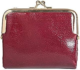 Yansyuiong محفظة جلدية PU صغيرة بمشبك للسيدات حقائب محمولة للأموال أنثى حامل بطاقة السعة المتوقع (اللون: أحمر)
