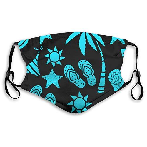 Sun Palm Tree Pineapple Chanclas Sandalias Sea Shell Bikini Trajes de baño Estrella de mar, filtro reutilizable lavable al polvo y cubre boca reutilizable Cara cálida de algodón a prueba de viento