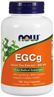 NOW Foods EGCg, Green Tea Extract, 400mg, 180 Vcaps (Pack of 2)