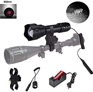 T20 IR 850NM 38mm Lens Infrared Light Long Range Night Vision LED Torch Kits -To Be Used with Night Vision Device, with Scope Mount, Pressure switch, Battery and Charger