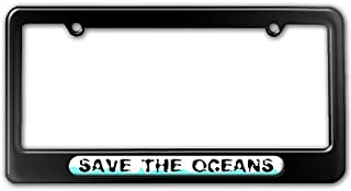 Graphics and More Save The Oceans - Environmental Global Warming License Plate Tag Frame - Color Gloss Black