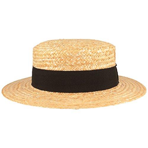 Kreissäge Strohhut | Sommerhut | Sonnenhut -aus 100% Stroh mit schwarzem Ripsband- Gondoliere-Hut MADE IN ITALY - 6 cm breite Krempe - Beige, Beige, S / 55