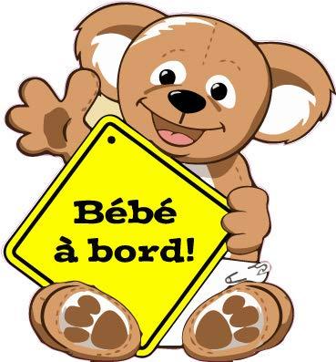 Autocollant Sticker adhésif ourson ours couleur bébé à bord - 15 cm