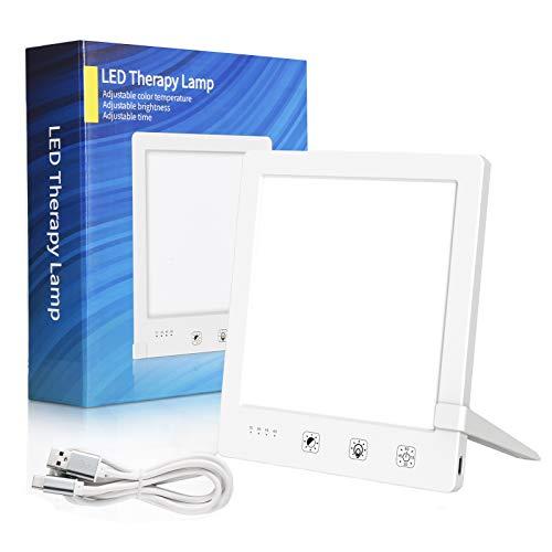 Tageslichtlampe 10000 Lux, WELTEAYO LED Lichttherapie Lampe mit 60 Min Timer, Tragbar USB Tageslichtleuchte mit Variablem Standfuß, Flimmer- und UV-frei (JSK-22)