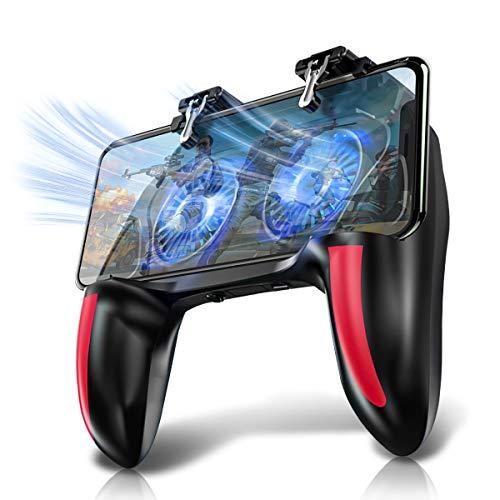 Newseego PUBG Mobile Game Controller, [4 Fingers] Gamepad mit Kühler, Empfindlich Ziel & Feuern Trigger für Android/iOS für PUBG/Rules of Survival/Knives Out