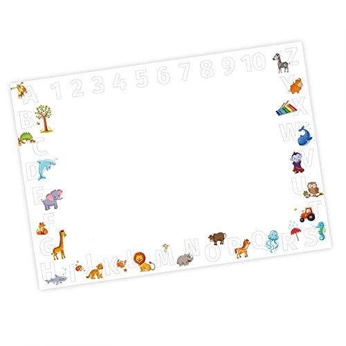 Kinder Schreibtischunterlage Alphabet + Zahlen zum ausmalen - 25 Blatt Papier zum abreißen, A2 Malunterlage - Geschenk zum Schuleintritt Schulanfang Einschulung