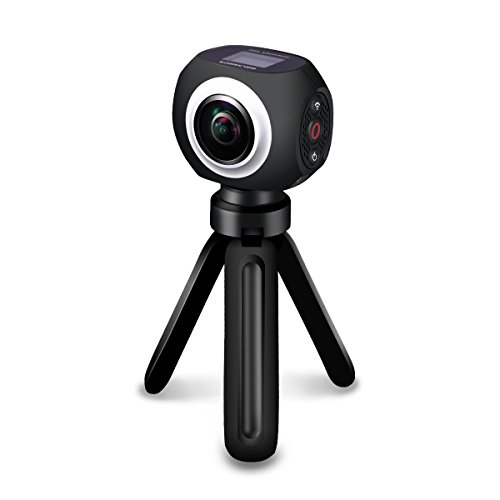 Poweradd 360 Degree Video Camera, Wide Angle Lens Wireless Sports Action Camera with App Control,Black