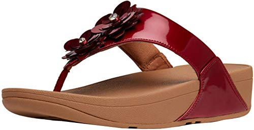 FitFlop Women's, Lulu Flower Thong Sandal RED 6 M