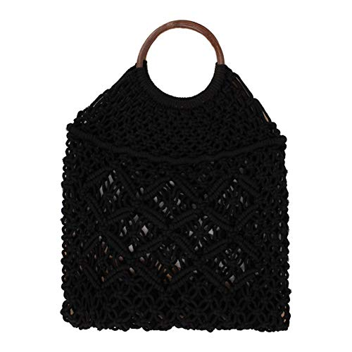 XIXIAO Straw Bag Cotton Rope Net Bag Beach Bag for Ladies Weekender Travel