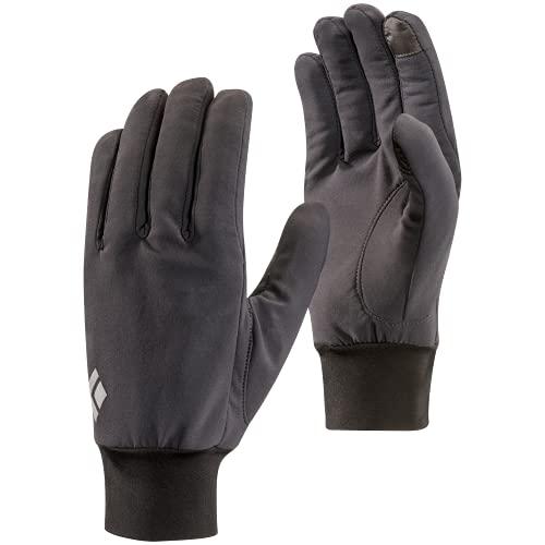 Black Diamond Lightweight Softshell Handschuhe / Touchscreen geeigneter, wasserabweisender & warmer Fingerhandschuh für milde Temperaturen / Unisex, Smoke, Größe: L