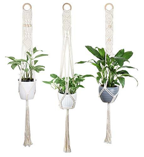 Luxbon 3er Set Makramee Blumenampel Baumwollseil Pflanzenaufhänger Blumentopf Halter für Innen Außen Decken Balkone Wanddekoration