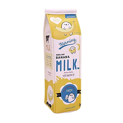 Cute Briefpapier Box Rosennie Niedlicher FedermäppchenKreative Karikatur Simulation Milch Bleistift Tasche Kinder Neuheit Artikel Portabel Milchkiste Mäppchen Kawaii Briefpapier Beutel (Gelb)