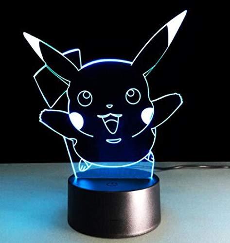 Lampada Illusione Luce Notturna A Led 3D Pokemon Colorato Vento E Fuoco Gioco Pikachu Bambola Mobile...