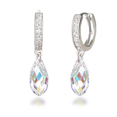Schöner-SD, Creolen mit 13mm Swarovski® Kristall Briolette Ohrringe 925 Silber Rhodium Crystal Aurora Boreale