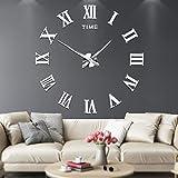 Grande orologio da parete adesivo con numeri romani 3D a specchio, muto, decorazione per casa e...