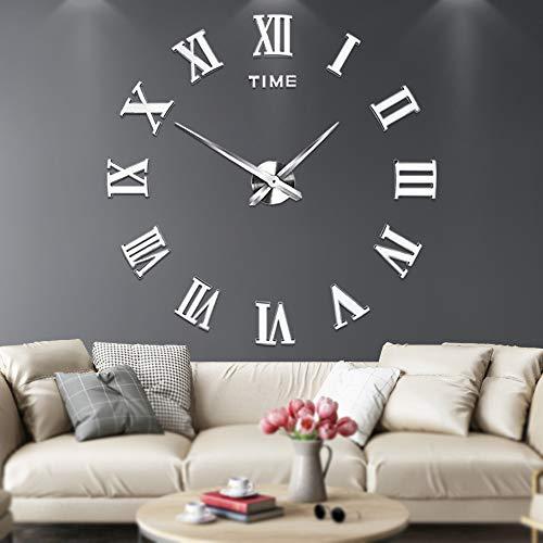 Grande orologio da parete adesivo con numeri romani 3D a specchio, muto, decorazione per casa e ufficio da montare come vuoi Argento
