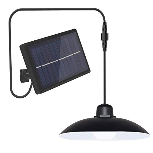 LETRY Solar Pendant Lights, Solar Powered Shed Light with Remote Control and 9.8Ft Pull Cord, IP44 Waterproof Hanging Solar Outdoor Lights for Indoor Garden Yard
