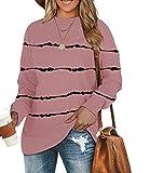 BEUFRI Sweatshirts for Women Crew Neck Long Sleeve Tunic Shirt Tops for Leggings (3X-Large, Tie Dye Pink)