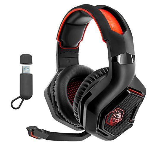 EMPIRE GAMING – WarCry Casque Gamer Sans Fil -2.4G - PS4/PS5/Switch/Xbox One X/PC/Mac Compatible Wireless -Son Stéréo Surround -LED Rouge