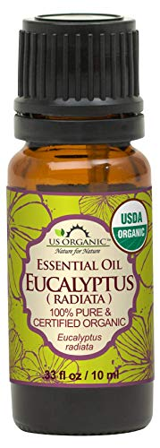 US Organic 100% Pure Eucalyptus Essential Oil (Radiata) - USDA Certified Organic, Steam Distilled - W/Euro droppers (More Size Variations Available) (10 ml / .33 fl oz)