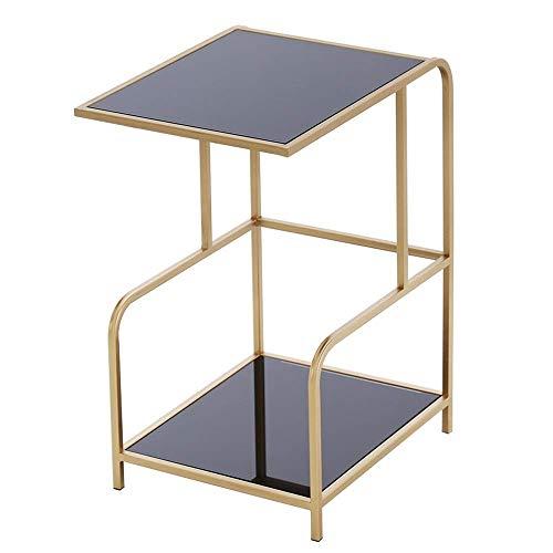 Home&Selected furniture / Ausgeglichenes Glas Sofa Beistelltisch Nordic Modernes Wohnzimmer Couchtisch Multifunktions-Eisen-Kunst-2-Tier Lagerung Regal, 16.7''x13.7''x24.4 '' (Farbe: Schwarz Glas)