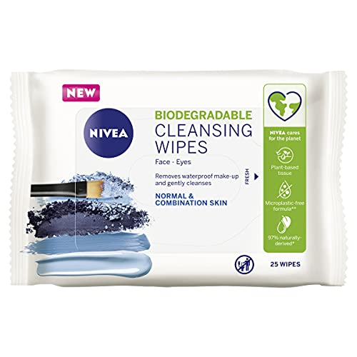 NIVEA Daily Essentials 3 in 1 Refreshing Cleansing Wipes for Eyes, Lips & Face. Enriched with Vitamin E for Normal & Combination Skin 25 Wipes
