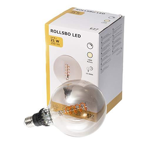 Ikea ROLLSBO E27 LED-glödtrådslampa, 200 lumen, dimbart, grått glas, 1800 K, 125 mm