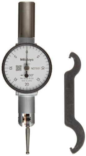 """Mitutoyo 513-504 Pocket Type Dial Test Indicator, Basic Set, Horizontal Type, 0.375"""" Stem Dia., White Dial, 0-5-0 Reading, 1.3"""" Dial Dia., 0-0.01"""" Range, 0.0001"""" Graduation, +/-0.0002"""" Accuracy"""