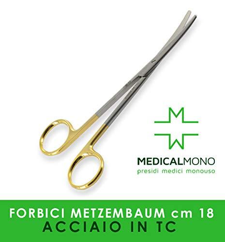 MEDICALMONO - Forbice Metzenbaum C.T. Rette, 18 cm, strumentario chirurgico carburo di tungsteno