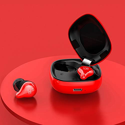 Shanling MTW100 True Wireless Earphone, Bluetooth 5.0 Earbuds, Fully Waterproof Earbuds (Red with Balanced Armature Driver)
