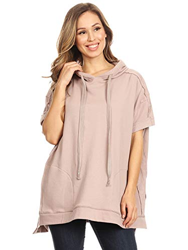 Anna-Kaci Women's Casual Loose Hoodie Pullover Short Sleeve Active Sweatshirt Top with Pockets, Mauve, Large